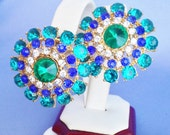 HUGE Gorgeous Aqua, Sapphire Blue,Clear, Green Rivoli Rhinestone Earrings