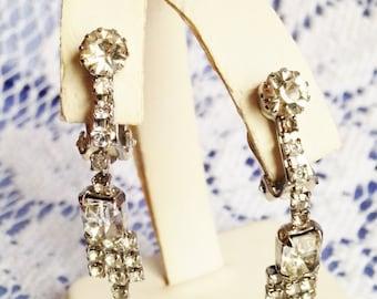 Stunning Dangling Clear Rhinestone Earrings