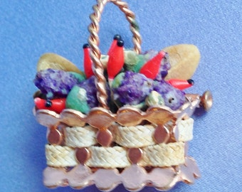 Colorful Basket of Fruit (with Overflowing Detail) 3D  Pin