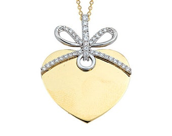 Bow Heart Locket 14k Solid Gold Necklace