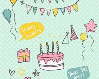 INSTANT DOWNLOAD- birthday illustrations