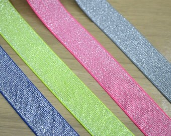 Solid Colored Glitter Stretch Elastic Band by the yard,Elastic Trim ,Waistband Elastic, Elastic Ribbon,1 1/8inch 30mm Wide