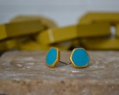 Hexagon stud clay earrings in green, turquoise, gold, or black