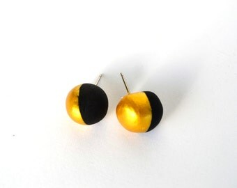 Round gold dipped stud clay earrings