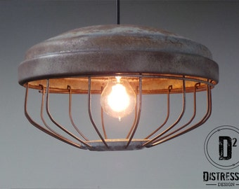 Vintage Industrial Cage Pendant Light