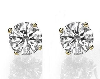 Gold Stud Earrings, Diamond Studs, 14K Gold Earring Studs, 1 CT Diamond Earrings, Classic Diamond Studs, Diamond Stud Earrings