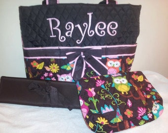 3 Piece Personalized Pink Owl Quilted Diaper Bag, Custom Diaper Bag, Personalized Diaper Bag, Embroidered Diaper Bag, Custom Baby Gift