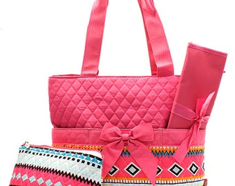 Aztec 3 Piece Quilted Personalized Diaper Bag with Changing Pad And Accessory Bag, Custom Diaper bag, Embroidered Diaper bag, Personalized