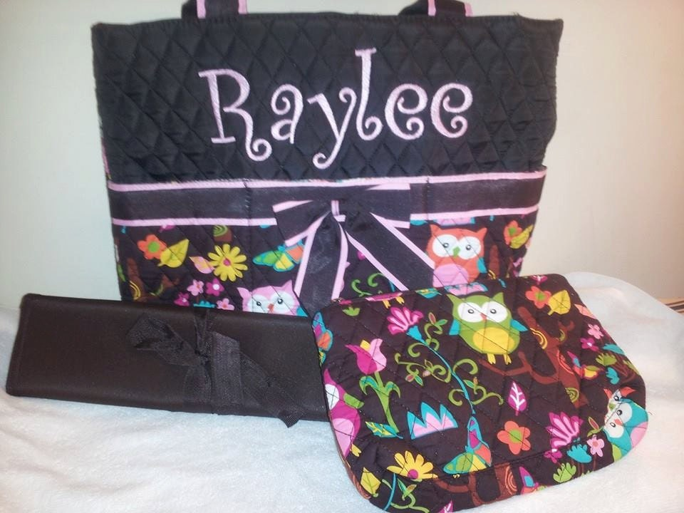 3 piece personalized owl diaper bag with by noetimetobeserious. Black Bedroom Furniture Sets. Home Design Ideas