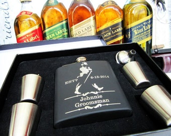4 Groomsman Flask Gift Set