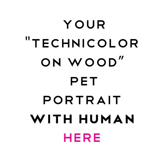 "Technicolor ""With Their Human"" - Custom Pet Portrait Memorial Art"