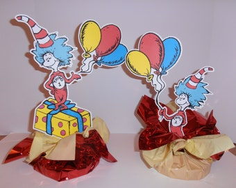 Thing 1 or Thing 2 Dr.Seuss centerpiece- Double sided