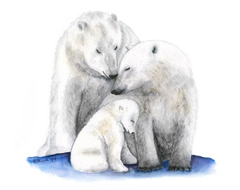 Polar Bear Print, Nursery Art, Animal Painting, Polar Bear Nursery, Animal Nursery Print, Polar Bear Art, Arctic Nursery, Gray, White 11x14