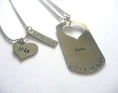 His and Hers - Hand Stamped - Dog Tag Heart Necklace - Anniversary