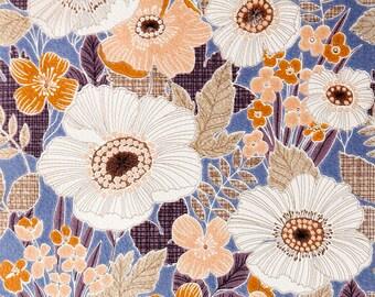 Vintage Blue Marvel Flower Wallpaper