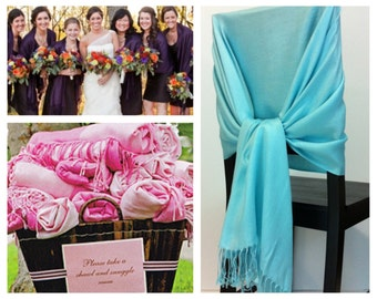Aqua pashmina , pashmina scarf, pashmina shawls, wedding shawls, pashmina wrap, bridesmaid shawls, wedding favors, chair covers