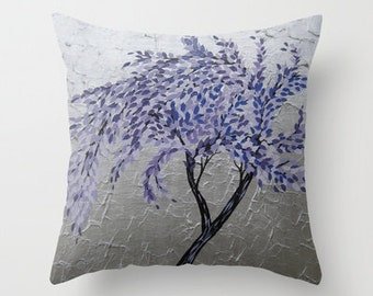 purple lilac violet mauve grey gray leaves leaf pattern of digital collage cushion cover throw pillow cases covers case art design abstract