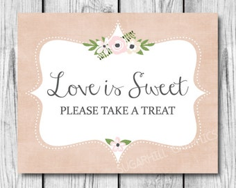 Wedding Sign, Printable Wedding Sign, Wedding Love is Sweet Sign, Wedding Signage, Love is Sweet Sign, Wedding Decor, Instant Download