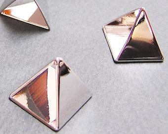 15mm Silver Pyramid Bead Triangle Bead 3d Beads Geometric Beads Metal Beads 5 pcs on Sale