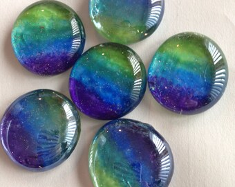 Glass magnets in Ombré green blue and purple-with lime green blending aqua blue, royal blue to purple with a touch of glitter for sparkle