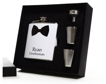 Personalized Groomsman Gift, Black Bow Tie Flask Gift Set