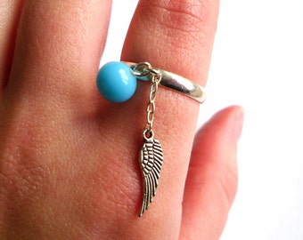 Silver Bohemian Wing Chain Adjustable Ring, Turquoise, Boho, Indie, Festival