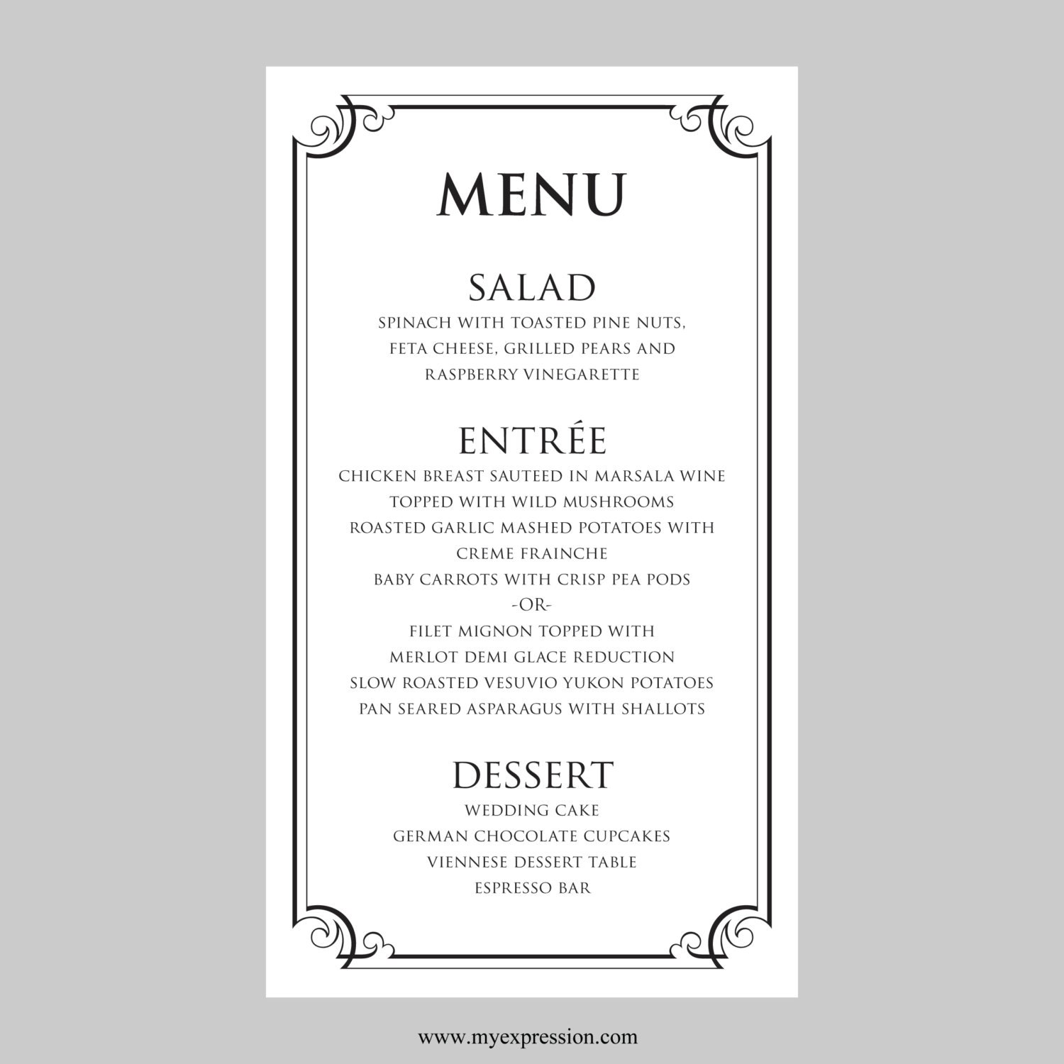 Free Wedding Menu Templates For Microsoft Word. Auto Repair Brochure ...