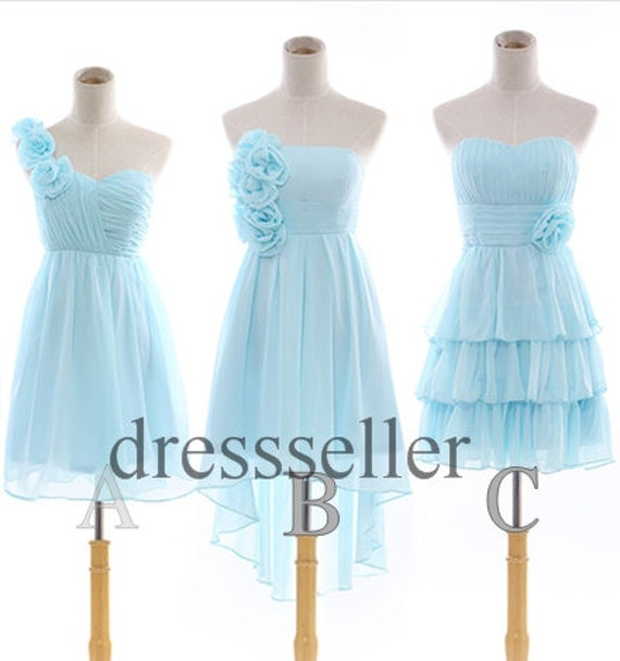 Custom Short Light Blue Chiffon Bridesmaid Dress Simple Design Bridesmaid Dresses Wedding Party Dress Homecoming Dress Cheap Cocktail Dress