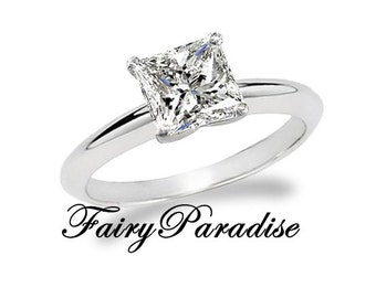 2 Ct (8 mm)  Princess Cut Man Made Diamond Solitaire Engagement Ring, Split Prong, Man Made Diamond Promise Rings for her (FairyParadise)