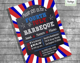 BBQ Fourth of July barbeque invitation 4th of July barbecue party invite digital printable invitation 13918