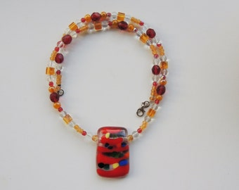 fused glass necklace, rectangle beaded glass pendant necklace,red yellow fused glass necklace, beaded fused glass necklace,red fused pendant