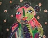 Outsider Art - Modern Folk Art - Colorful Man - Monster Painting - Weird Painting - Alien Art - Colorful Monster -  Small Folk Art