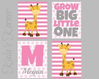 JUNGLE NURSERY ART - Safari Nursery Decor - Girls Nursery Art - 3 Piece Print Set - Playrom Wall Art