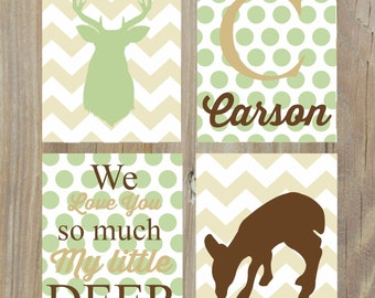 DEER WALL ART - Willow Organic Nursery Art - Boys Nursery Decor - Custom Nursery Art - 4 Piece Print Set unframed
