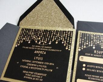 "Glitter ""Deco Lights"" Wedding Invitations Set / Custom / String Lights Design / Confetti / Gold or Silver / Lined Envelopes"