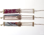 burgundy fabric bracelet - tribal geometric studded bracelet with chains