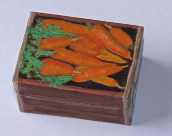 """A small handpainted paper mache box carrots """"Bunny Brand"""""""