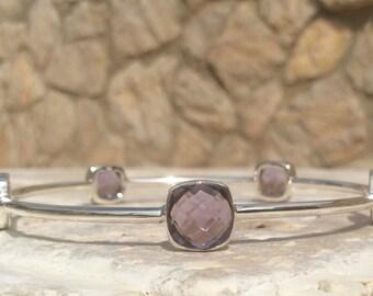 Plus Size Gemstone Bangle, Amethyst Cushion Stone Silver Bangle, Silver 5 Stone Bangle, Stacking Bangle, Extra Large Stone Bangles