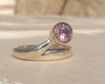 U.S. 8.75 Gemstone Silver Snake Ring, Pink Zirconia Silver Ring, Pink Gemstone Curly Ring, Linking Stone Ring, Interlocking Pink Zircon Ring
