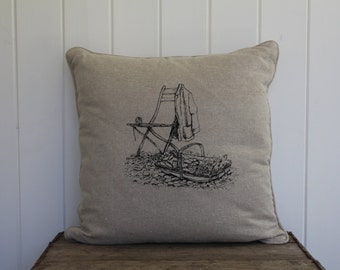 Natural Linen Hand Printed Cushion with Garden Chair Scene