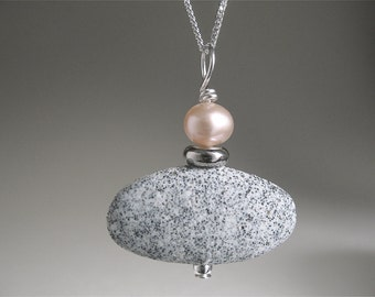 Grey Pebble Necklace with Rose-Colored Fresh Water Pearl on sterling chain