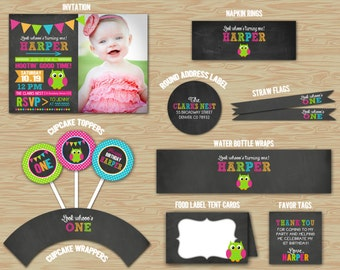 Owl Chalkboard Birthday Ultimate Party Package - Printable