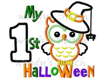 My first Halloween owl applique machine embroidery design