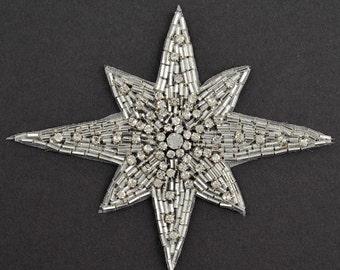 "Star Rhinestone Beaded Applique Patch, Bridal Applique, 1 pc, 4"" x 5'', FF-348"