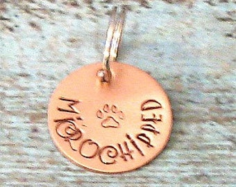 Copper Hand Stamped Personalized Microchip Pet ID Tag - Microchipped