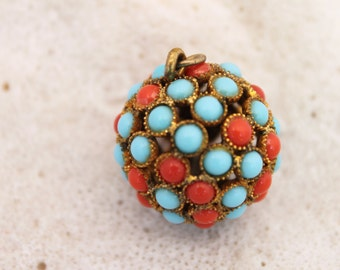 VINTAGE 14kt GOLD ORB !Turquoise and Coral ,pendant./charm,Gorgeous!