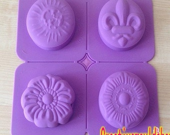 Cake Mold Soap Mould 4-Assorted Styles Flexible Silicone Candle Candy Chocolate Cake Fimo Resin Crafts DIY Mold in Handmade