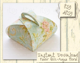 Wedding favour box -Aqua wedding printable gift box with antique ...