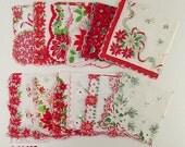 Lot of One Dozen Assorted Vintage Christmas Hankies Handkerchiefs (Inventory #CH1498)