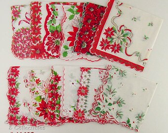 Vintage Hanky Lot One Dozen Assorted Vintage Christmas Hankies Handkerchiefs (Inventory #CH1498)